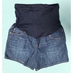 VGUC Denim Maternity Shorts Overbelly